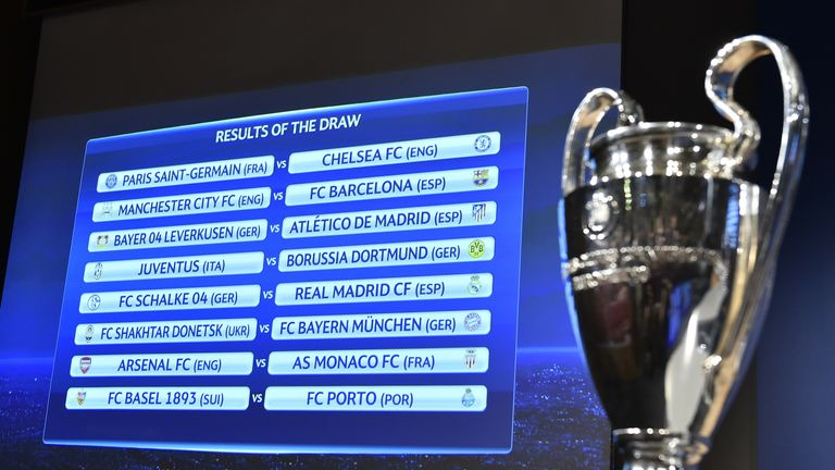 A board shows the draw for the UEFA Champions League round of 16 next to the trophy on December 15, 2014 at the UEFA headquarters in Nyon