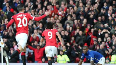 Falcao celebrates scoring their second goal against Leicester City