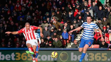 Jonathan Walters of Stoke City scores the opening goal during against Queens Park Rangers