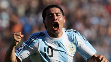 Juan Roman Riquelme: Celebrates scoring one of his 17 Argentina goals