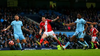 Lee Tomlin of Middlesbrough hits the post with an effort during the FA Cup fourth round match against Manchester City
