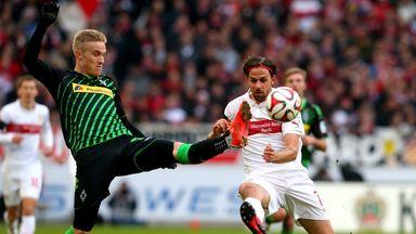 Martin Harnik of Stuttgart battles for the ball with Oskar Wendt