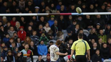 Rory Jennings  kicks the winning penalty for Bath against Harlequins