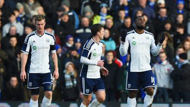 Victor Anichebe: Celebrates scoring West Brom's opener at Birmingham