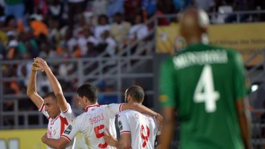 Yassine Chikhaoui celebrates equalising against Zambia