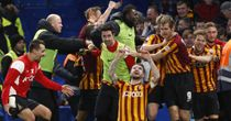 Mark Yeates celebrates after scoring Bradford's fourth goal against Chelsea