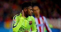 Neymar: Celebrates his second goal and Barca's winner