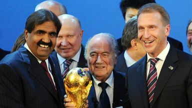 Sheikh Hamad bin Khalifa Al-Thani and Sepp Blatter on the day the 2022 World Cup was awarded to the Gulf state