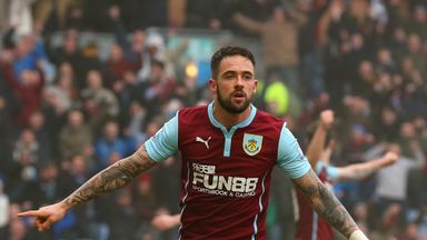 Danny Ings of Burnley celebrates scoring their second goal against West Brom.