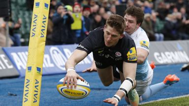 David Strettle: Dives over to score Saracens' first try