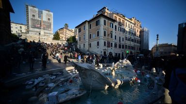 Dutch fans caused havoc in the Piazza di Spagna area of Rome