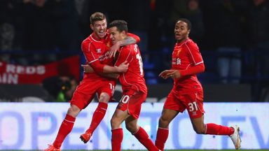 Philippe Coutinho celebrates his winner against Bolton in the FA Cup earlier this season