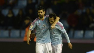 Fabian Orellana (right) is congratulated by fellow goalscorer Nolito after netting the second
