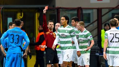 Virgil van Dijk: Celtic defender sent off against Dundee United
