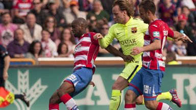 Barcelona's Ivan Rakitic finds himself outnumbered