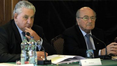 FIFA President Sepp Blatter (right) and FIFA vice-president Jim Boyce at the IFAB meeting