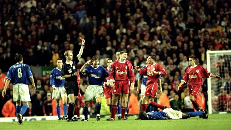 Gerrard's first red card came against Everton in 1999