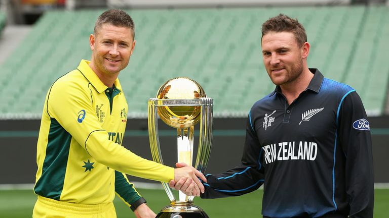 Michael Clarke (left) and Australia will face New Zealand and Brendon McCullum in the World Cup final