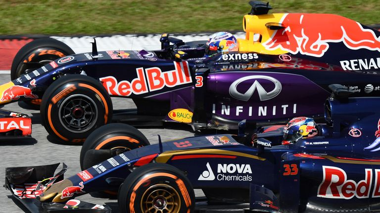 Spot the difference: Max Verstappen and Daniel Ricciardo in the Toro Rosso and Red Bull cars at the Malaysia GP