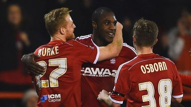 Michail Antonio (centre) enjoyed a successful first season at the City Ground