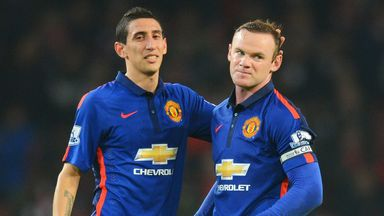 Manchester United team-mates Angel di Maria and Wayne Rooney