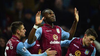 Christian Benteke of Aston Villa celebrates scoring their second goal from the penalty spot