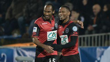 Guingamp's Claudio Beauvue (right) celebrates
