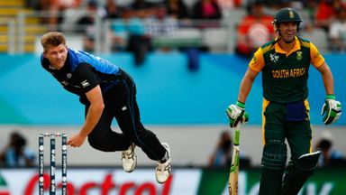 Corey Anderson bowls during the 2015 Cricket World Cup Semi Final match against South Africa at Eden Park