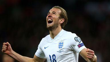 Harry Kane celebrates after scoring on his England debut