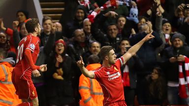 Jordan Henderson celebrates his goal in the first half