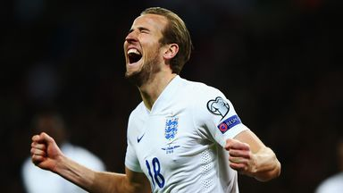 Harry Kane celebrates scoring on his England senior debut against Lithuania