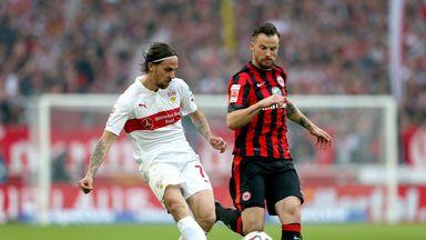 Martin Harnik of Stuttgart battles for the ball with Haris Seferovic  (R) of Frankfurt