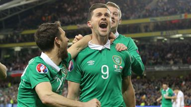 Republic of Ireland's Shane Long celebrates scoring his side's equaliser against Poland