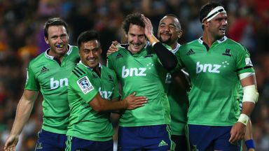 Highlanders fly-half Marty Banks is congratulated after kicking a late winner against the Chiefs