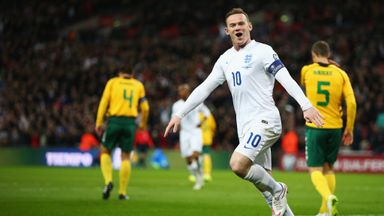 Wayne Rooney: In celebratory mood after shining against Lithuania