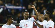 Cape Verde's Gege celebrates after scoring against Portugal