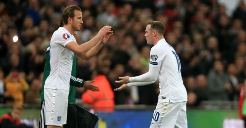 England captain Wayne Rooney is replaced by Harry Kane in the 4-0 win over Lithuania on Friday.