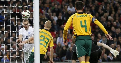 Harry Kane: Scores on his debut against Lithuania after just 78 seconds