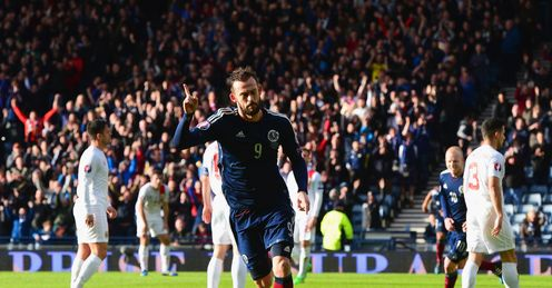 Steven Fletcher of Scotland celebrates scoring against Gibraltar