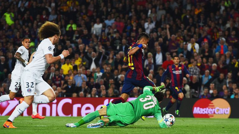 Luiz is caught out as Neymar slots in Barca's second