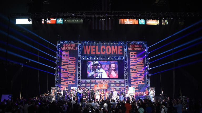 Rapper Doug E. Fresh interviews WBC/WBA welterweight champion Floyd Mayweather Jr. at MGM Grand Garden Arena
