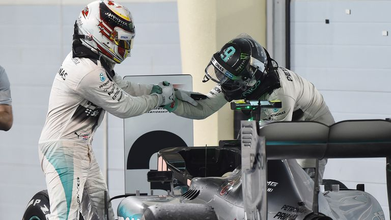 Hamilton is congratulated by Rosberg after the Bahrain GP