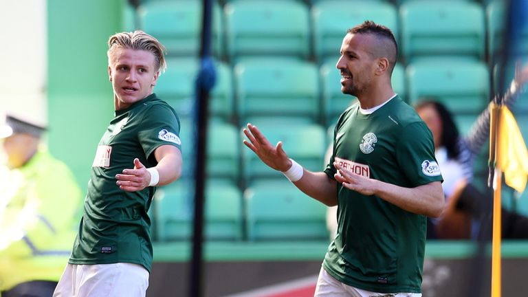 Hibernian's Jason Cummings celebrates with team-mate Farid El Alagui