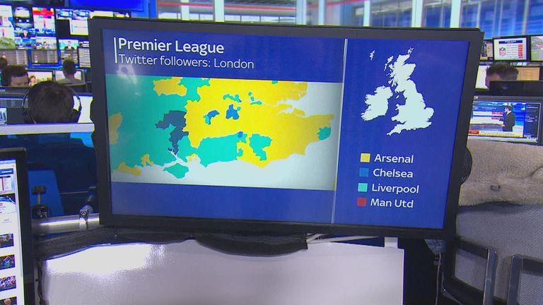 London is dominated by the yellow of Arsenal