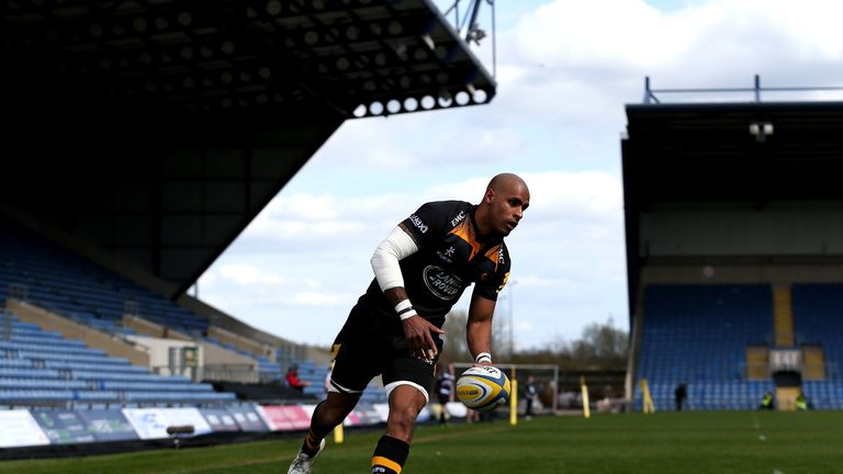 Wasps wing Tom Varndell crosses for one of his three tries at the Kassam Stadium
