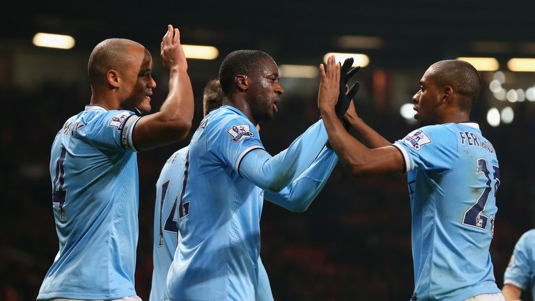 City's Yaya Toure celebrates scoring during a 3-0 win in 2014