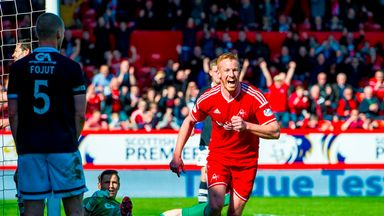 Aberdeen's Adam Rooney celebrates after putting his side 1-0 up