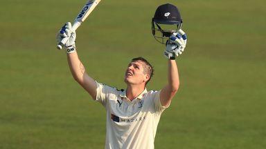 Alex Lees celebrates his century for Yorkshire against Nottinghamshire