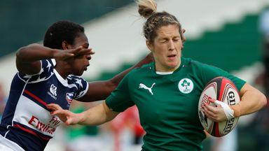 Dynamic Ireland winger Alison Miller (r)