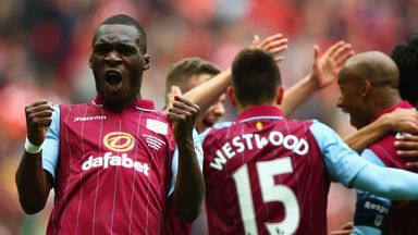 Christian Benteke celebrates against Liverpool
